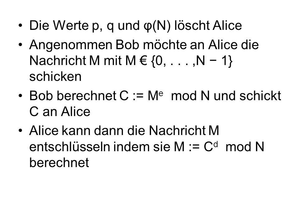 Die Werte p, q und φ(N) löscht Alice