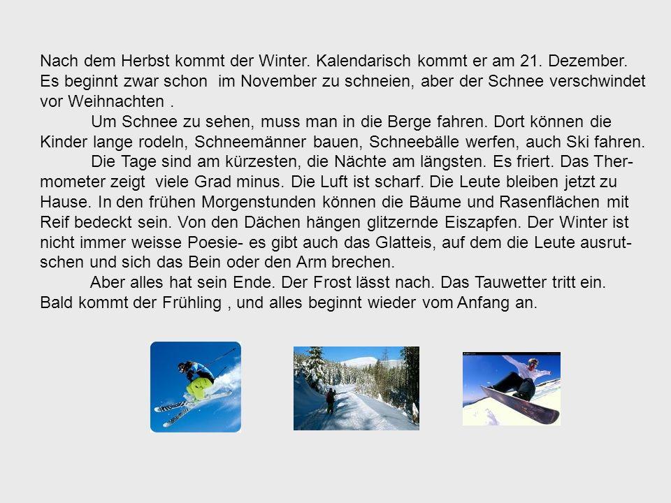 Nach dem Herbst kommt der Winter. Kalendarisch kommt er am 21. Dezember.