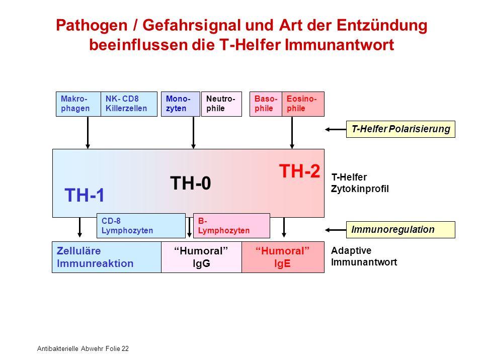 Pathogen / Gefahrsignal und Art der Entzündung beeinflussen die T-Helfer Immunantwort