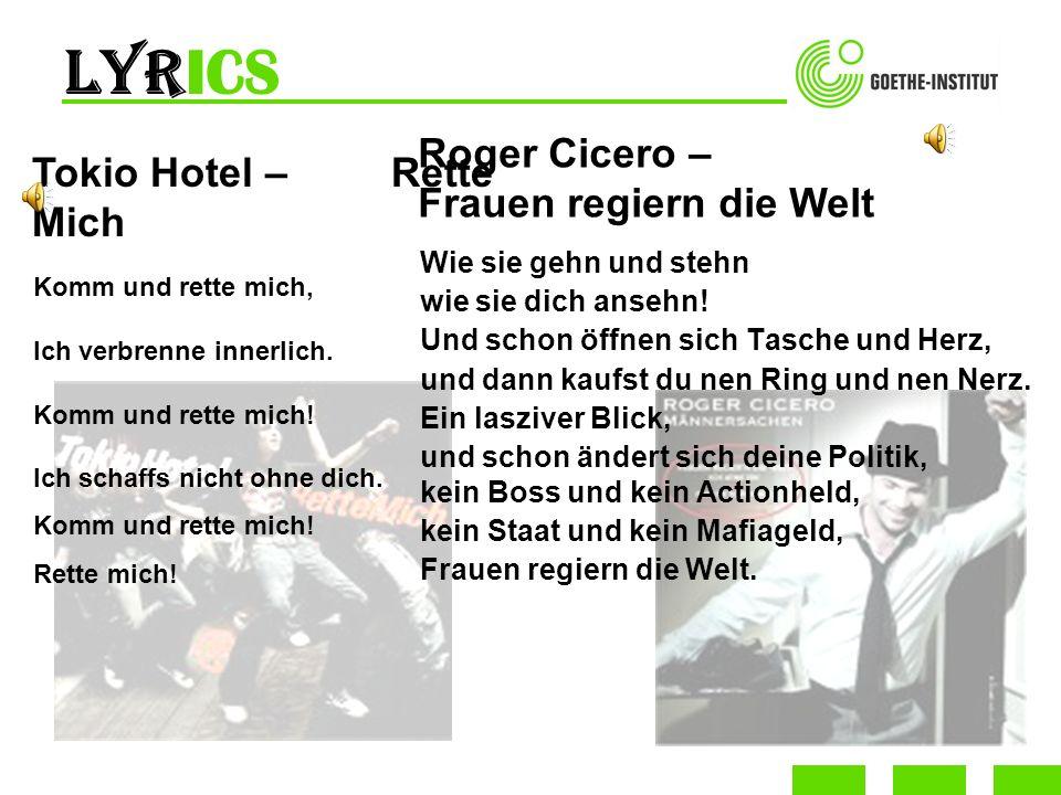 LyrICS Roger Cicero – Frauen regiern die Welt Tokio Hotel – Rette Mich