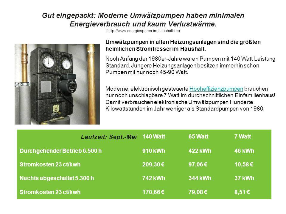 Gut eingepackt: Moderne Umwälzpumpen haben minimalen Energieverbrauch und kaum Verlustwärme. (http://www.energiesparen-im-haushalt.de)