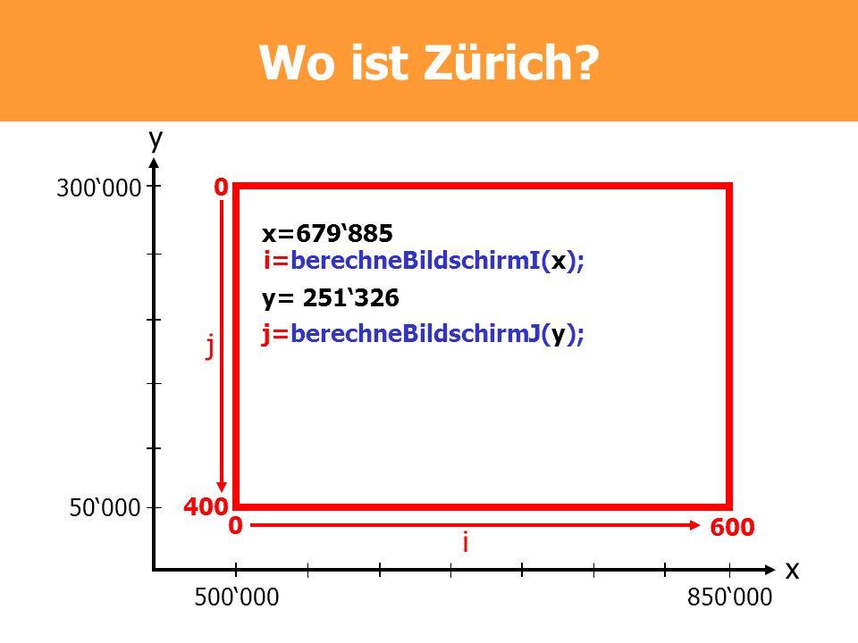Wo ist Zürich y. 300'000. 400. 600. j. x=679'885. i=berechneBildschirmI(x); y= 251'326. j=berechneBildschirmJ(y);