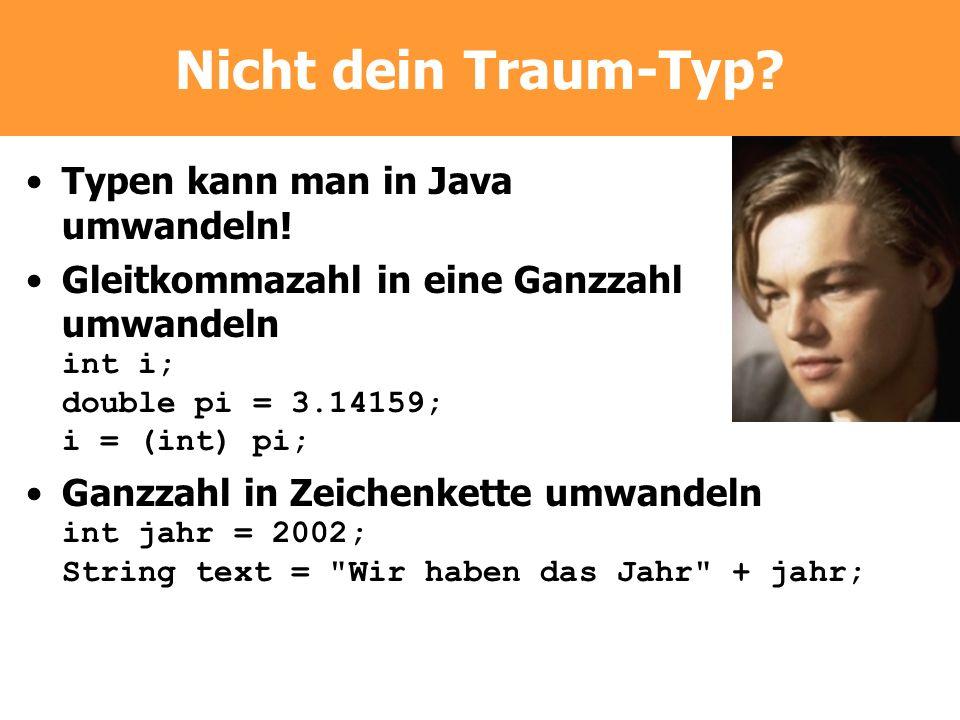 Nicht dein Traum-Typ Typen kann man in Java umwandeln!