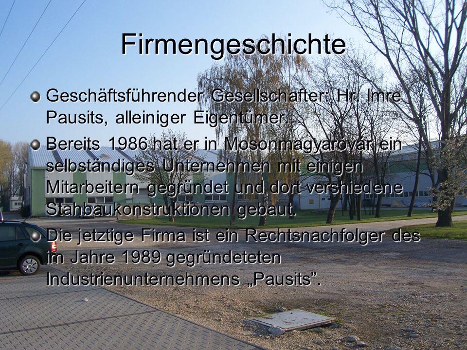 Firmengeschichte Geschäftsführender Gesellschafter: Hr. Imre Pausits, alleiniger Eigentümer.
