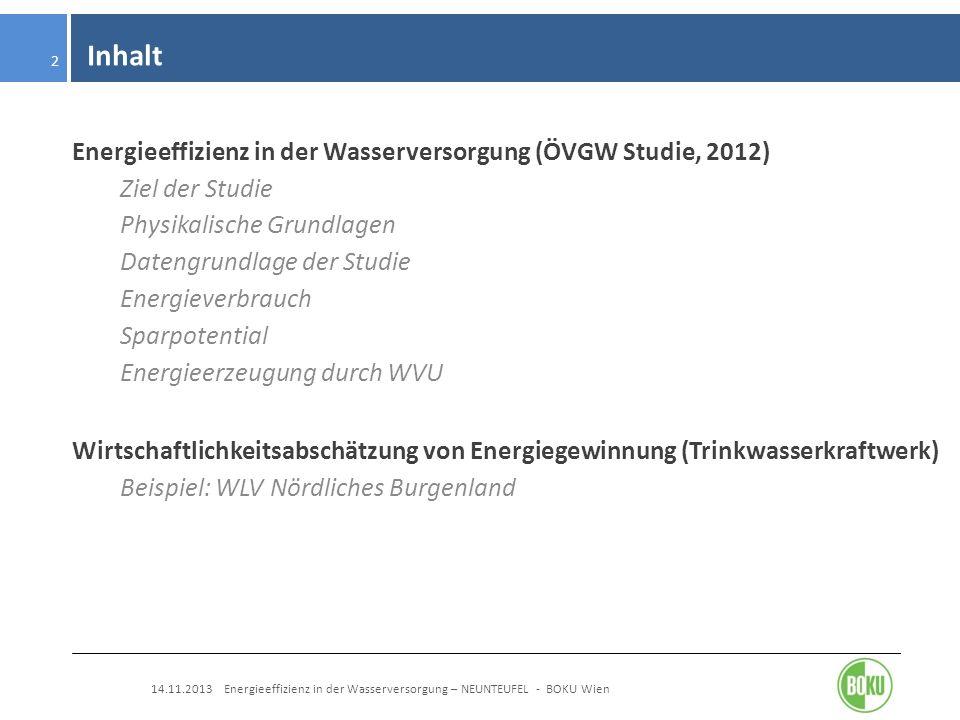 Inhalt Energieeffizienz in der Wasserversorgung (ÖVGW Studie, 2012)