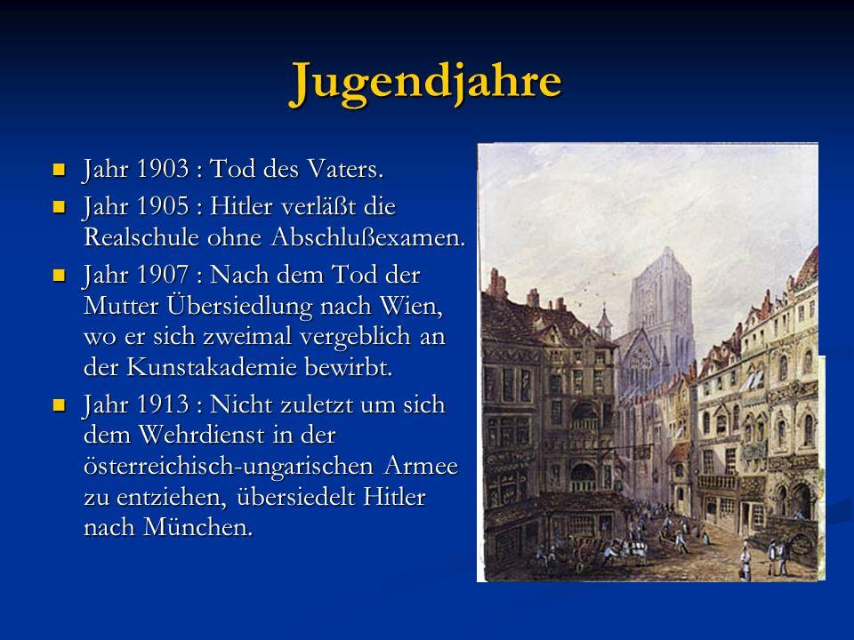 Jugendjahre Jahr 1903 : Tod des Vaters.
