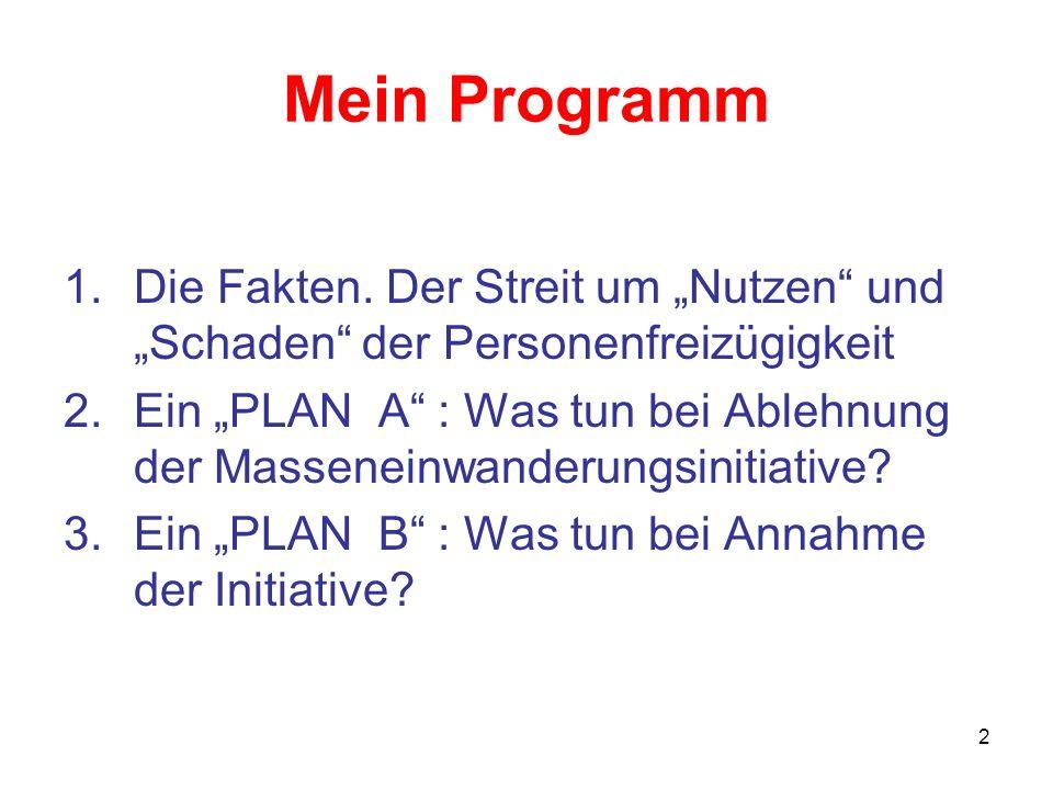 """Mein Programm Die Fakten. Der Streit um """"Nutzen und """"Schaden der Personenfreizügigkeit."""