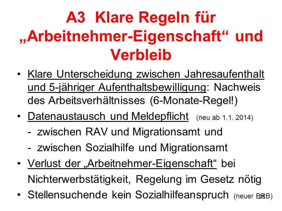"""A3 Klare Regeln für """"Arbeitnehmer-Eigenschaft und Verbleib"""