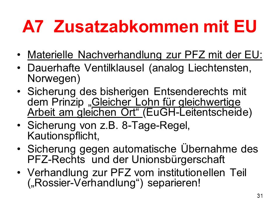A7 Zusatzabkommen mit EU