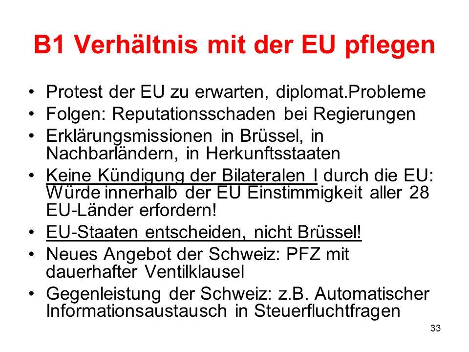 B1 Verhältnis mit der EU pflegen