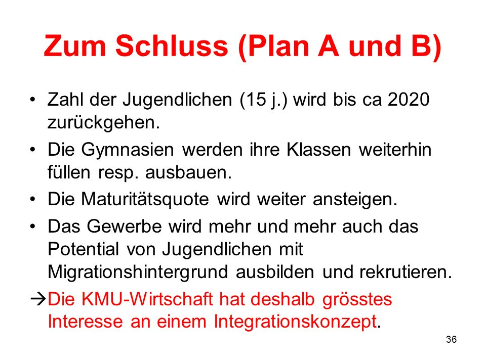 Zum Schluss (Plan A und B)