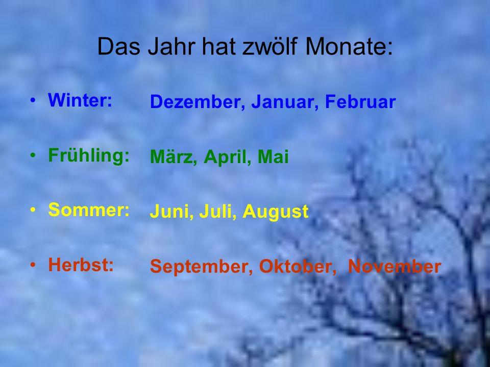 Das Jahr hat zwölf Monate: