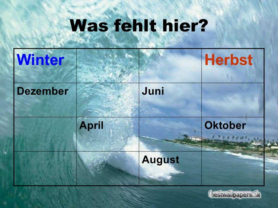 Was fehlt hier Winter Herbst Dezember Juni April Oktober August