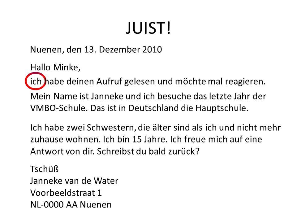 JUIST! Nuenen, den 13. Dezember 2010 Hallo Minke,