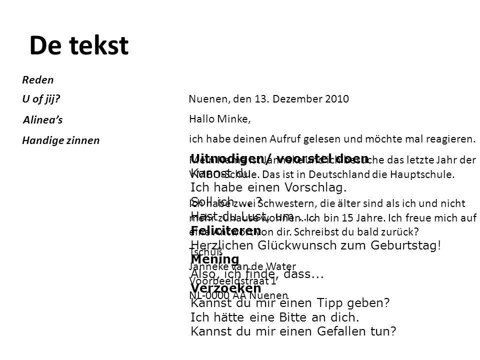 De tekst Reden U of jij Nuenen, den 13. Dezember 2010 Alinea's