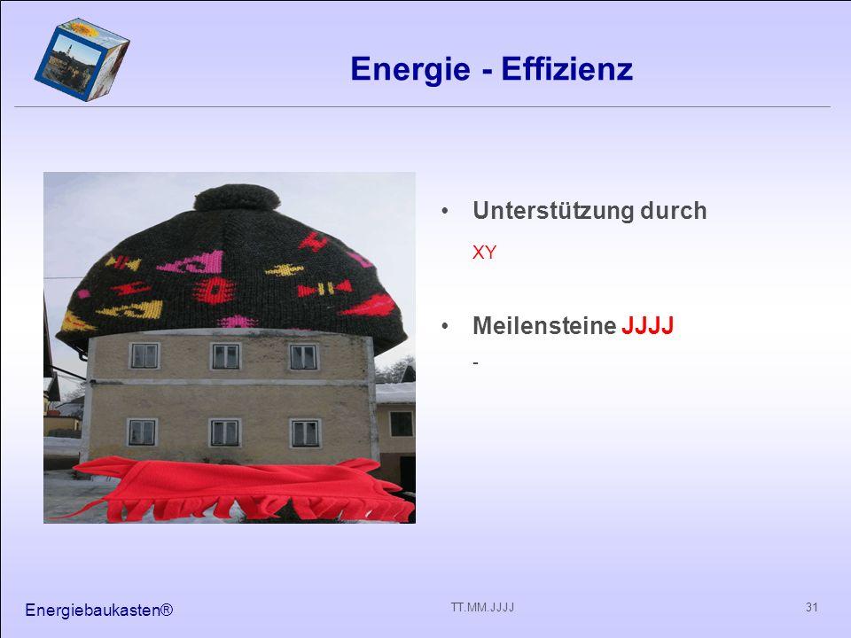 Energie - Effizienz XY Unterstützung durch Meilensteine JJJJ -