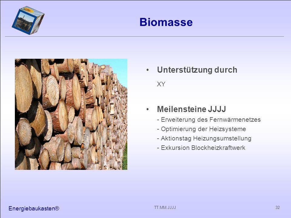 Biomasse XY Unterstützung durch Meilensteine JJJJ
