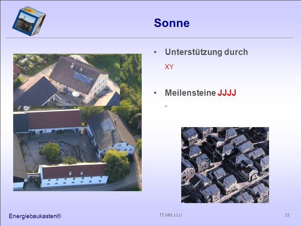 Sonne XY Unterstützung durch Meilensteine JJJJ - Energiebaukasten®