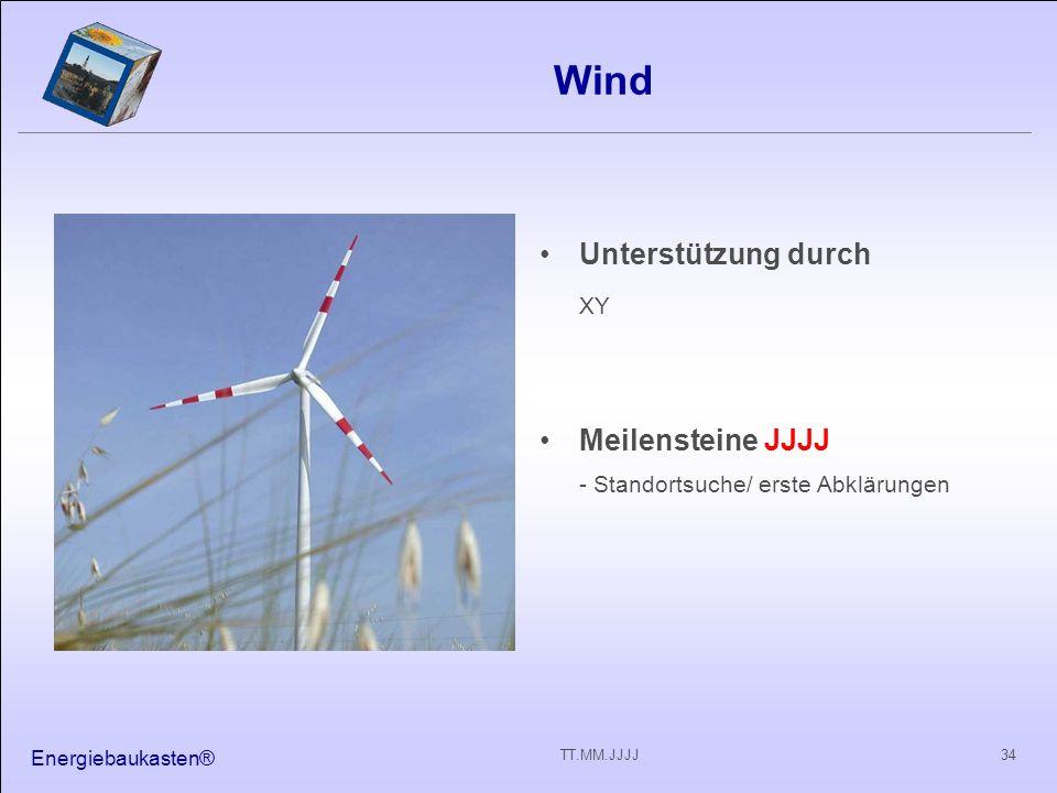 Wind XY Unterstützung durch Meilensteine JJJJ