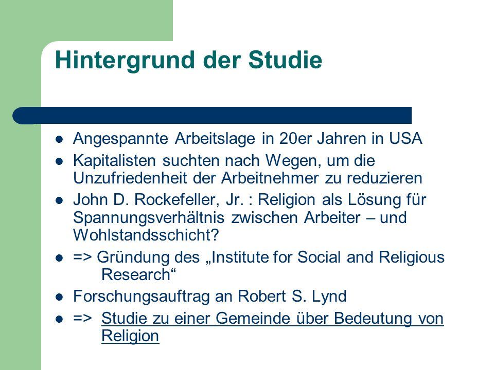 Hintergrund der Studie
