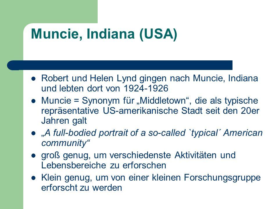 Muncie, Indiana (USA) Robert und Helen Lynd gingen nach Muncie, Indiana und lebten dort von 1924-1926.