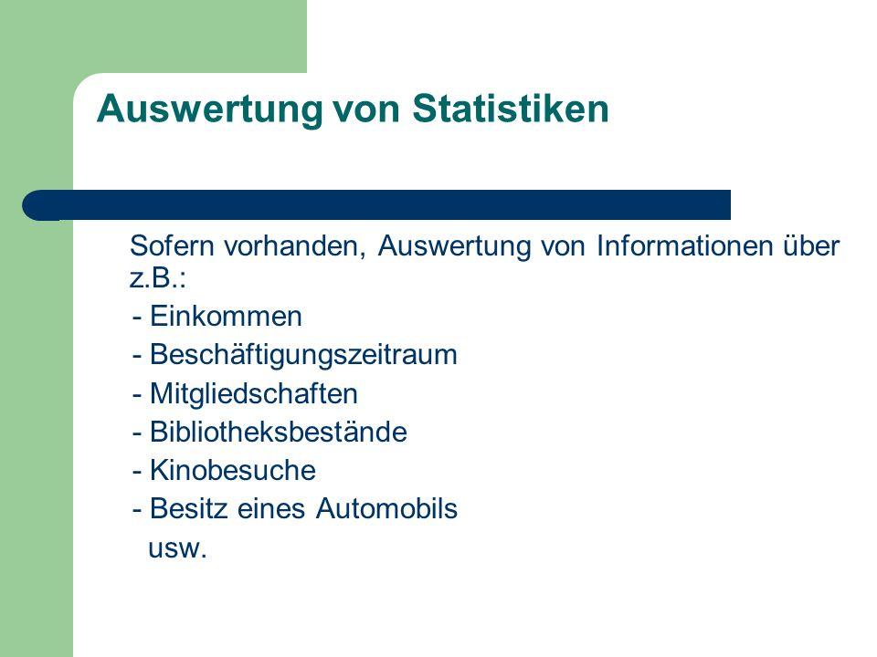 Auswertung von Statistiken