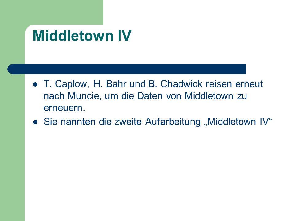 Middletown IV T. Caplow, H. Bahr und B. Chadwick reisen erneut nach Muncie, um die Daten von Middletown zu erneuern.