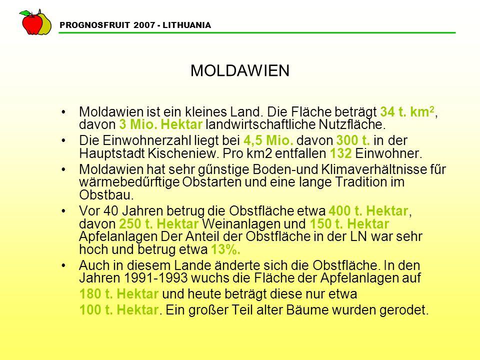 MOLDAWIEN Moldawien ist ein kleines Land. Die Fläche beträgt 34 t. km2, davon 3 Mio. Hektar landwirtschaftliche Nutzfläche.