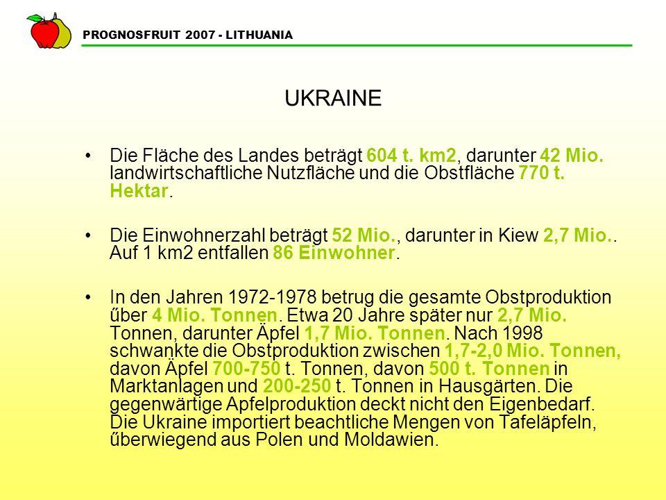 UKRAINE Die Fläche des Landes beträgt 604 t. km2, darunter 42 Mio. landwirtschaftliche Nutzfläche und die Obstfläche 770 t. Hektar.