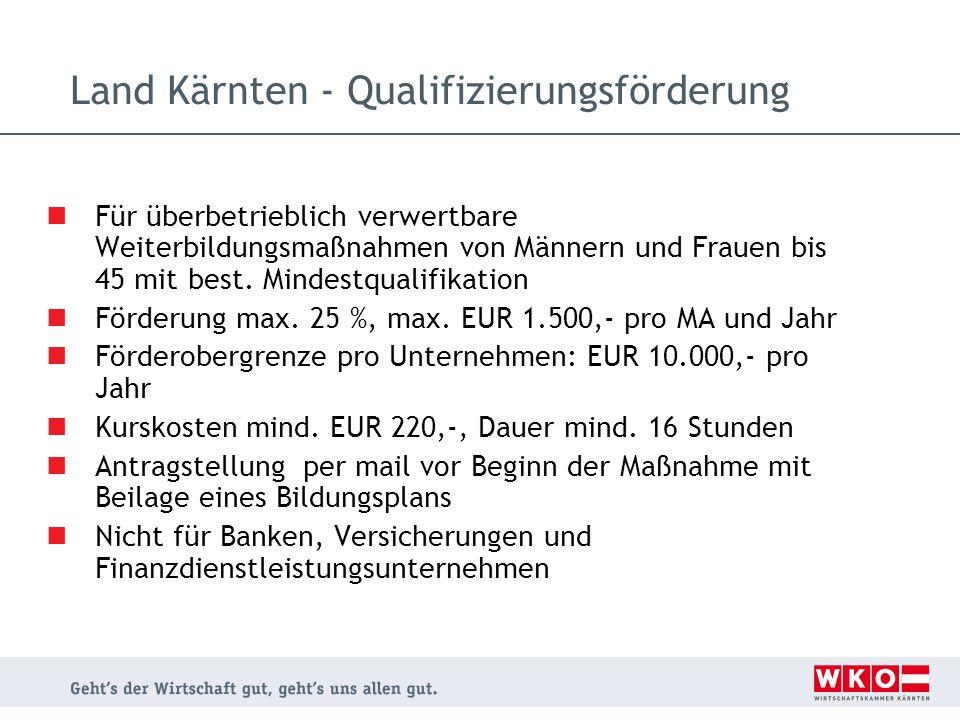Land Kärnten - Qualifizierungsförderung