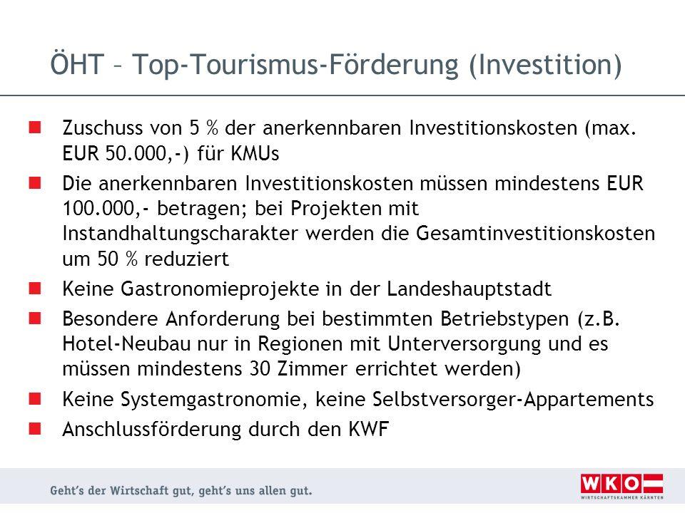 ÖHT – Top-Tourismus-Förderung (Investition)