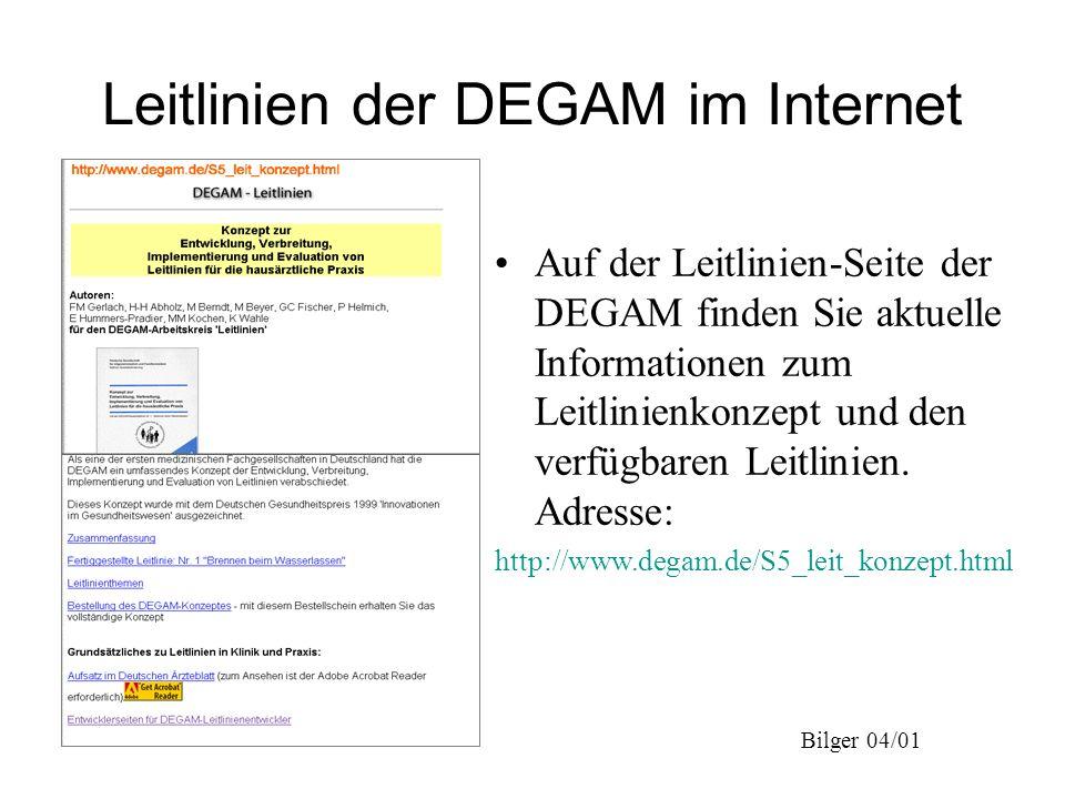 Leitlinien der DEGAM im Internet