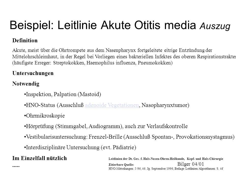 Beispiel: Leitlinie Akute Otitis media Auszug