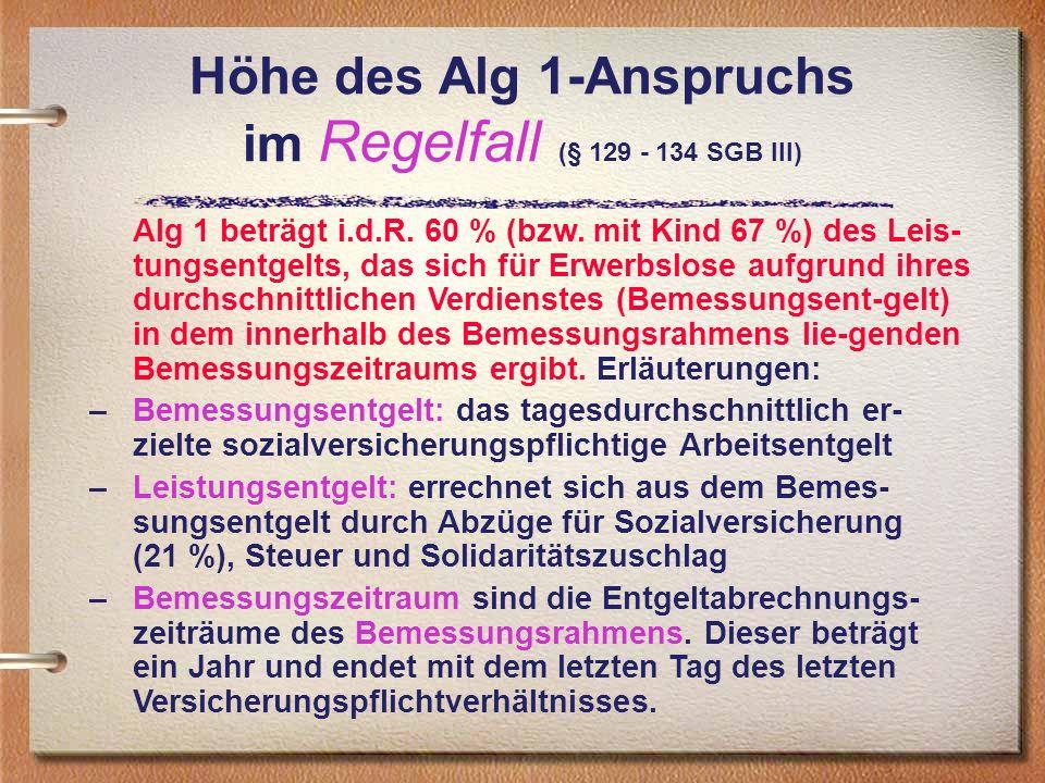 Höhe des Alg 1-Anspruchs im Regelfall (§ 129 - 134 SGB III)