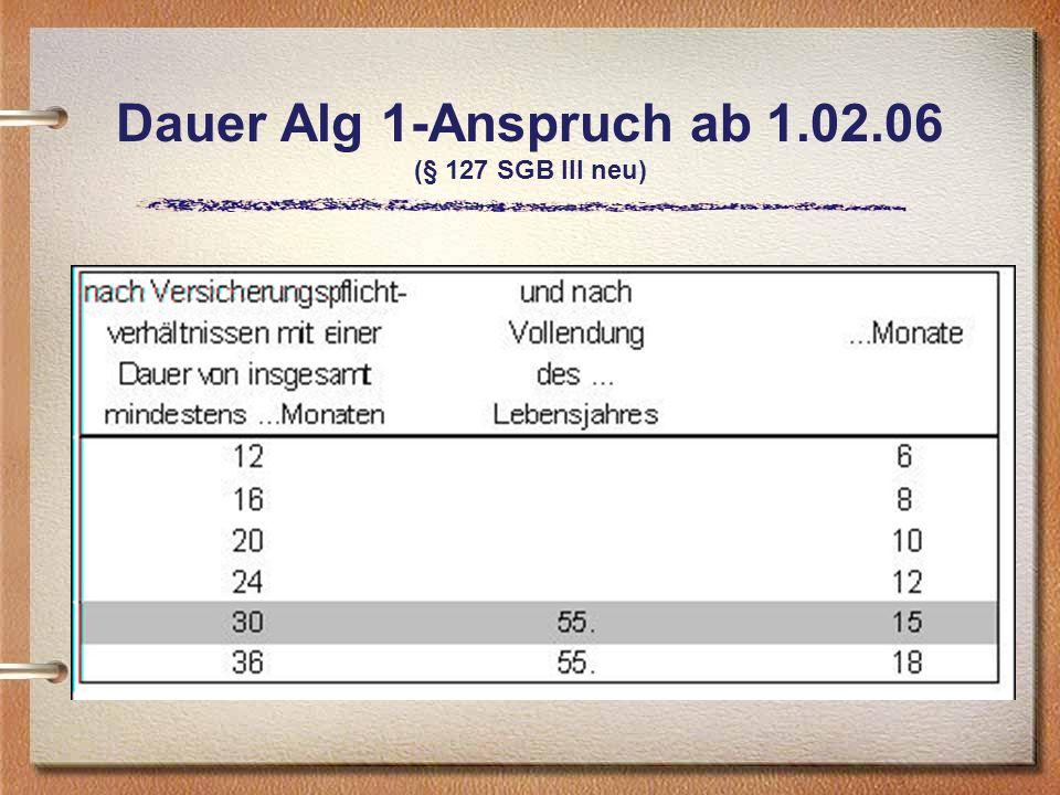 Dauer Alg 1-Anspruch ab 1.02.06 (§ 127 SGB III neu)