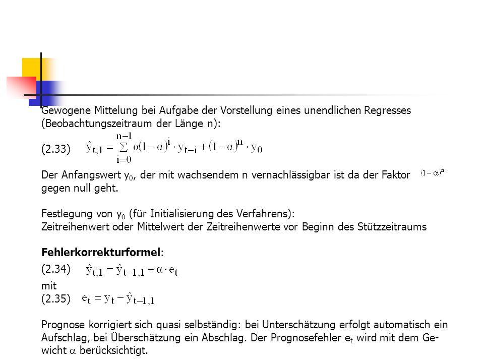Gewogene Mittelung bei Aufgabe der Vorstellung eines unendlichen Regresses (Beobachtungszeitraum der Länge n):