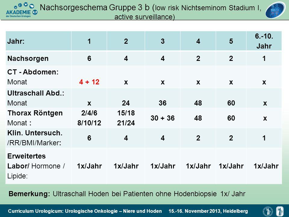 Nachsorgeschema Gruppe 3 b (low risk Nichtseminom Stadium I, active surveillance)