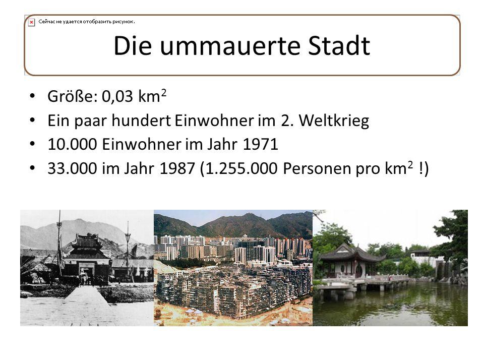 Die ummauerte Stadt Größe: 0,03 km2
