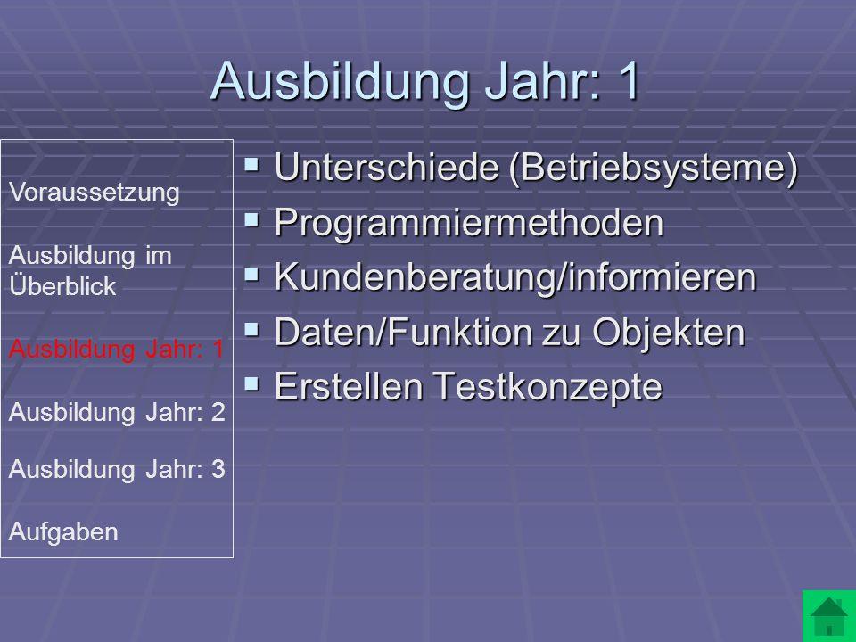 Ausbildung Jahr: 1 Unterschiede (Betriebsysteme) Programmiermethoden