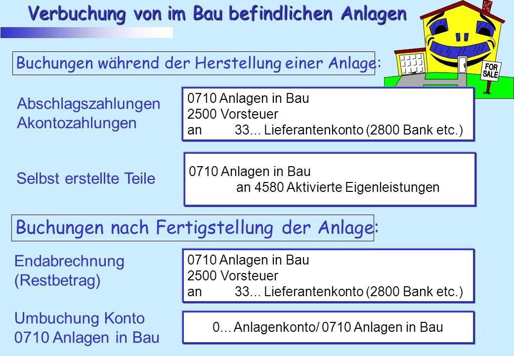 0... Anlagenkonto/ 0710 Anlagen in Bau