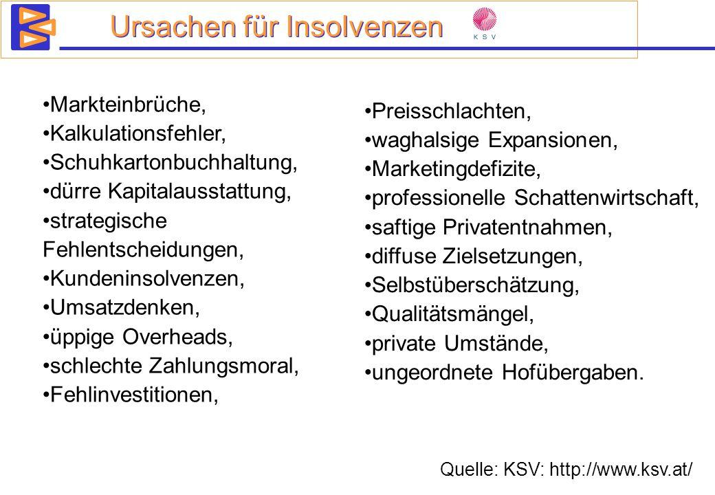 Ursachen für Insolvenzen