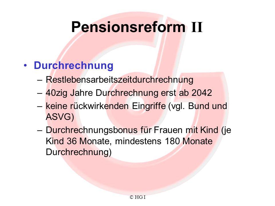 Pensionsreform II Durchrechnung Restlebensarbeitszeitdurchrechnung