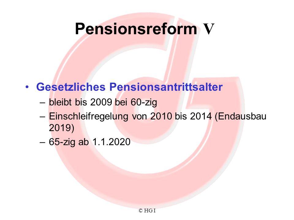 Pensionsreform V Gesetzliches Pensionsantrittsalter
