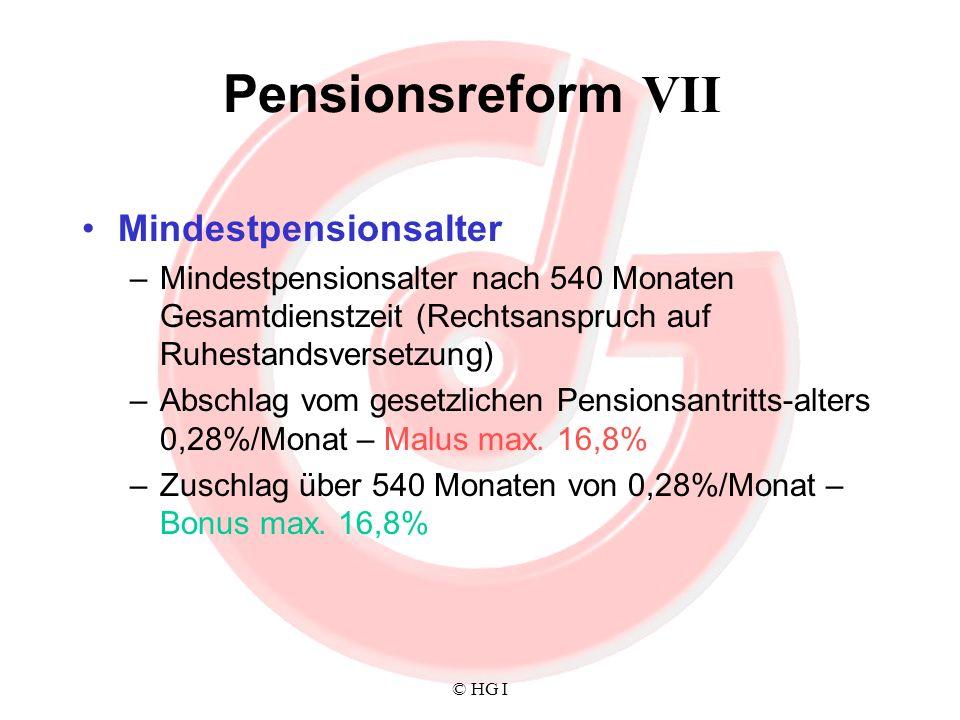 Pensionsreform VII Mindestpensionsalter