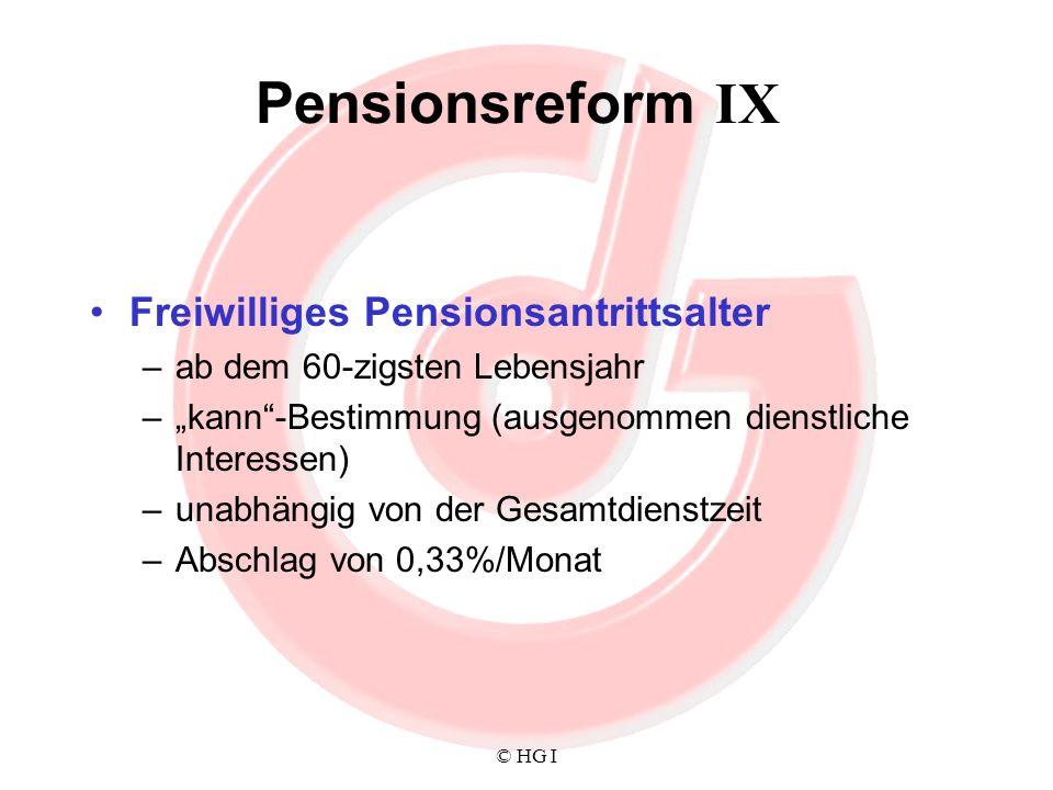 Pensionsreform IX Freiwilliges Pensionsantrittsalter