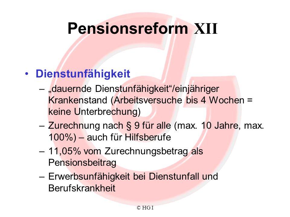Pensionsreform XII Dienstunfähigkeit
