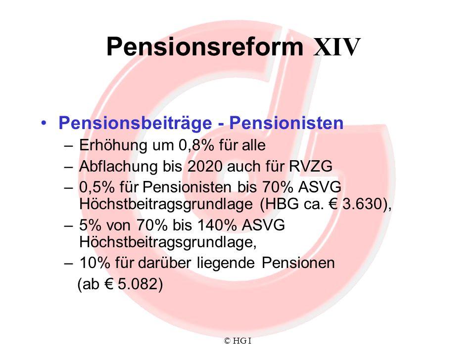 Pensionsreform XIV Pensionsbeiträge - Pensionisten