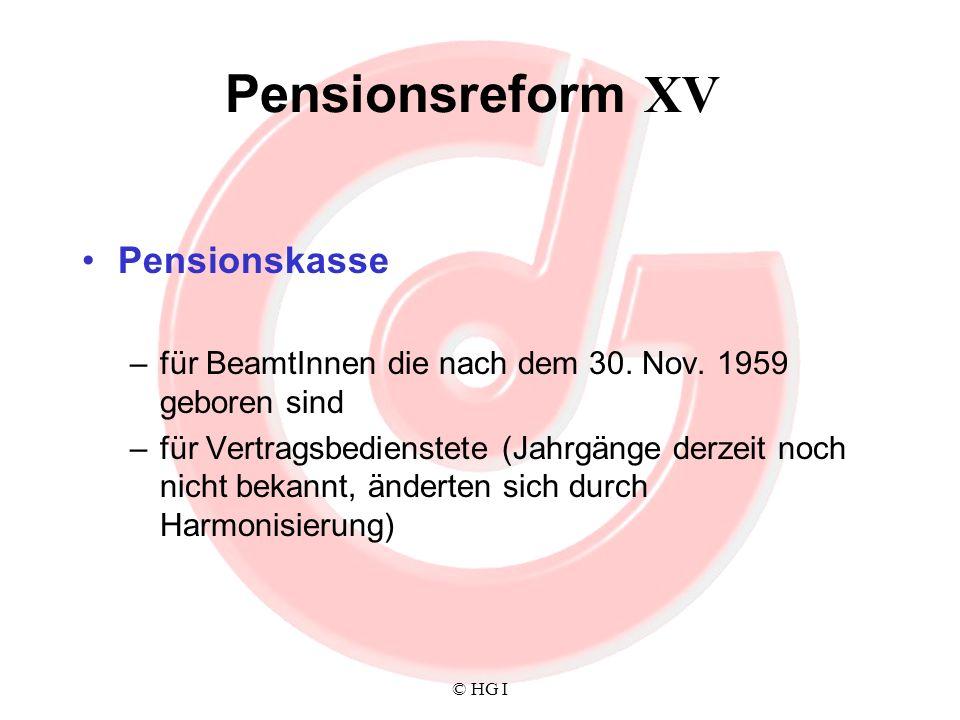 Pensionsreform XV Pensionskasse