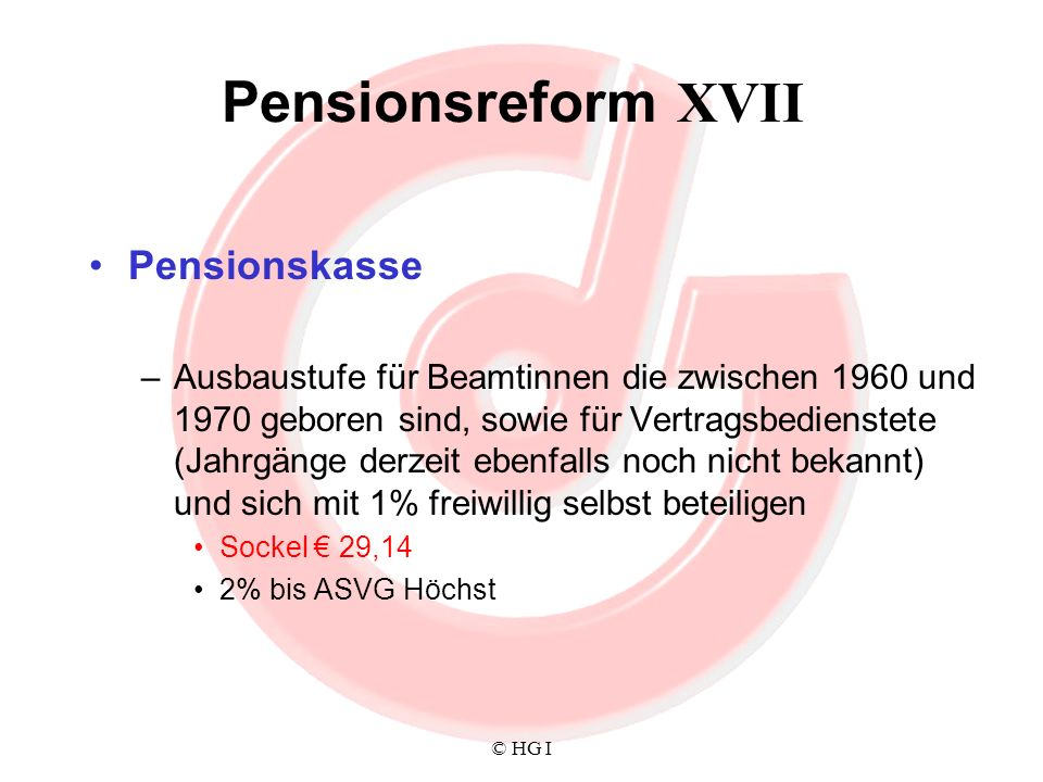 Pensionsreform XVII Pensionskasse