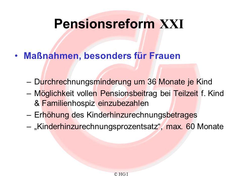 Pensionsreform XXI Maßnahmen, besonders für Frauen